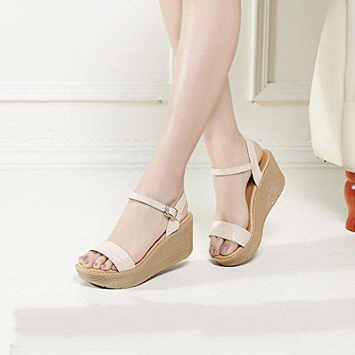 Sandales Couleur 7cm talons femmes CN35 Kaki Khaki étudiantes chaussures Sandales Blanc taille hauts Blanc Noir femmes été à pour UK3 HAIZHEN 5 EU36 en Pour qwxtfYTf