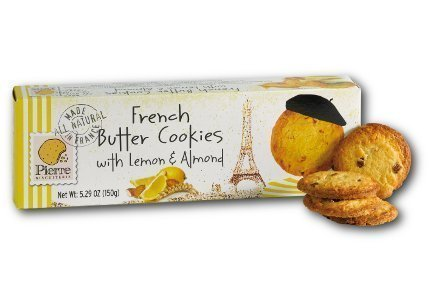 Almond Sweet Cookies - Pierre Biscuiterie French Butter Cookies with Lemon & Almond 5.29 Oz. Box (Pack of 3)