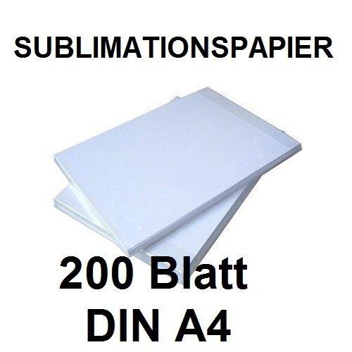 200 BLATT SUBLIMATIONSPAPIER / THERMO-TRANSFERPAPIER DIN A4 für Shirts, Caps, Tassen, Mousepads... Hervorragende Übertragungsqualität, Farbannahme und Farbsättigung, schnell trocknend, wischfest NOD