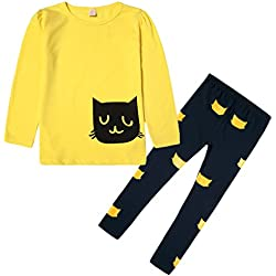Lymnshi Little Girls 2 Piece Set Cat Long Sleeve T-shirt+ Leggings Outfits Yellow 5Y