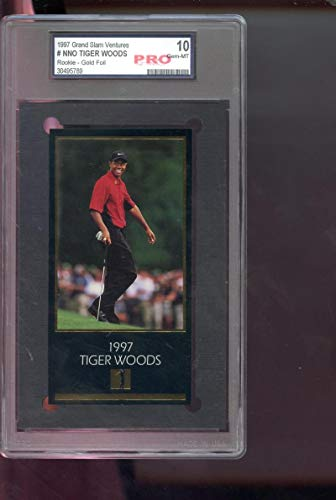 1997 GSV Grand Slam Ventures Champions Of Golf Masters Collection Gold Foil Tiger Woods ROOKIE RC PRO 10 Graded Golf Card
