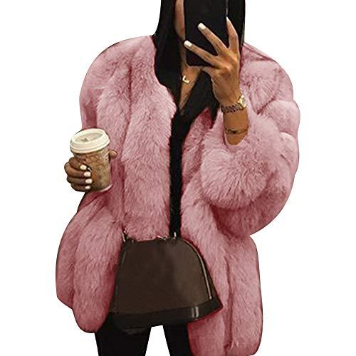 - lightclub Solid Color Winter Women Thicken Faux Fur Coat Loose WarmLong Sleeve Outwear Pink S