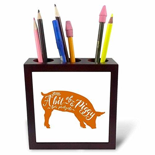 3dRose Russ Billington Designs- A Little Bit of a Piggy - A Little Bit of a Piggy for Pretzels- Funny Piggy Design in Orange - 5 inch tile pen holder (ph_261951_1)