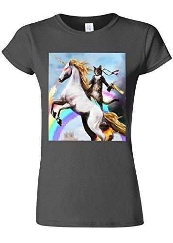 胴体パスタバンジョーCrazy Cat Unicorn Rainbow Novelty Charcoal Women T Shirt Top-S