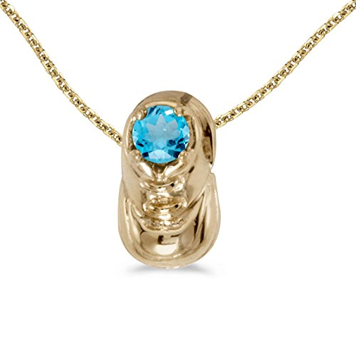FB Jewels Solid 10k Yellow Gold Genuine Birthstone Round Blue Topaz Baby Bootie Pendant (1/4 Cttw.)