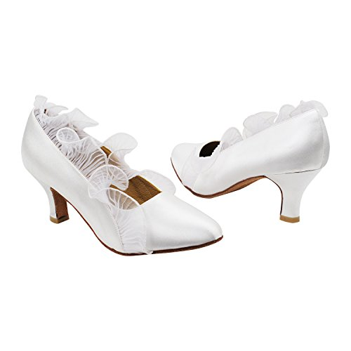 amp; 50 Low Toe~ Party Shades Pumps by Gold High Tango Evening Dance Shoes Smooth Closed Mid Standard Theather of Ballroom Heel Wedding Pigeon Dress Art Women Shoes White Satin 5517 Party Tango Collection PqYExO