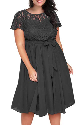Nemidor Women's Scooped Neckline Floral lace Top Plus Size Cocktail Party Midi Dress (18W, Grey) ()