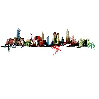 New york graffiti skyline art print poster 12x18