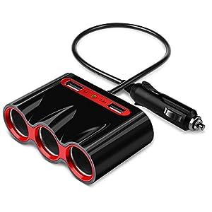 Cigarette Lighter Adapter, 120W 3-Socket Car Cigarette Lighter Splitter 3.4A Dual USB Car Charger Adapter DC 12V/24V Outlet Multi-functions Car Splitter for iPhone iPad Samsung GPS Dashcam
