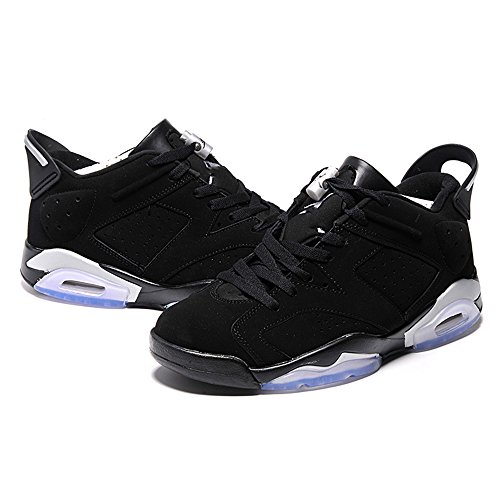 (Men's Basketball Air 6 Retro Low Chromne Casual Breathable Sports Shoes Black/Metallic Silver US8)