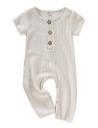 fiercewolf Newborn Baby Girls Boys Romper Solid Jumpsuit Linen Cotton Short Sleeve Ruffled Bodysuit Infant Summer Clothes Outfit White