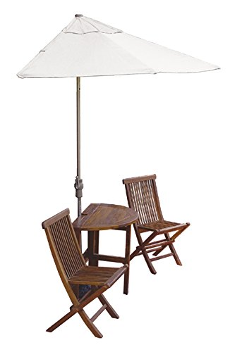 Blue Star Group Terrace Mates Caleo Standard Table Set w/ 9'-Wide OFF-THE-WALL BRELLA - Natural Olefin - Wall Olefin Umbrella Natural