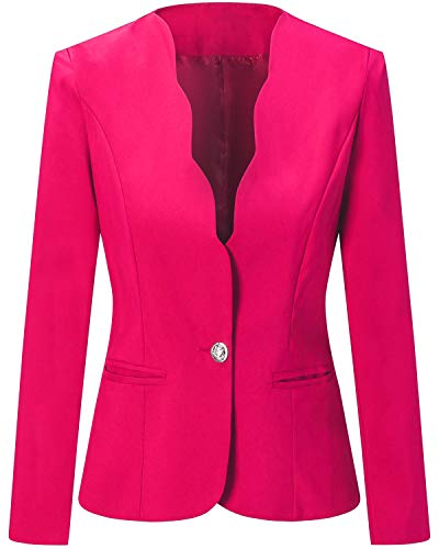 - Women's One Button Slim Fit Casual Office Work Blazer Suit Jacket, Fuchsia, XX-Large