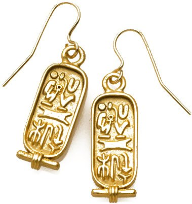 Sale - Reproduction of Egyptian Cartouche 2-sided Earrings, From Our Museum Store Collection
