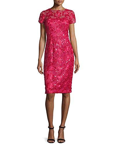 David Meister Women's Short Sleeve Lace Cocktail Dress 4 Pink