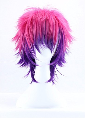 JYWIGS-14-No-Game-No-Life-Synthetic-Wig-Cosplay-Pink-and-Purple-Anime-Costume-Short-Bob-Hair-Rose-Networks-Hairnet-Included