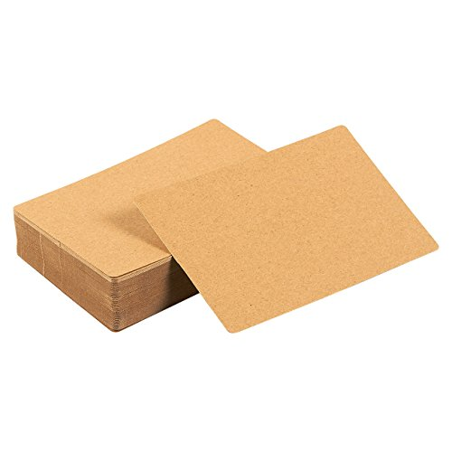 Pack of 100 Blank Flash Cards for Study or DIY Use - Plain Index Cards - Perfect for Language Learning - 130gsm, Kraft Brown, 3.3 x 5.2 Inches Age Note Cards