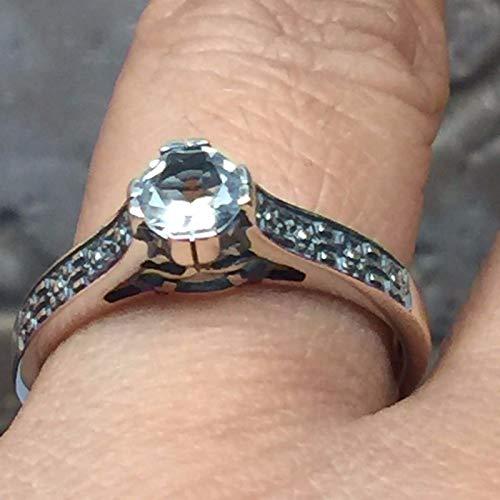 (Natural 0.5ct Aquamarine 925 Solid Sterling Silver Art Deco Filigree Engagement Ring sz 6.25, 7.25, 8, 8.25, 9.25)