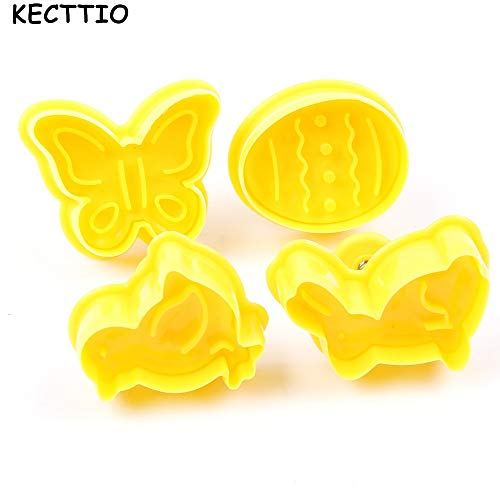 Laliva Butterfly,Rabbit,Chick,Easter Egg Shape Animal Plastic Fondant Cookie Cutter Biscuit Cake Mold Cake Decoration 4 pcs/set ()