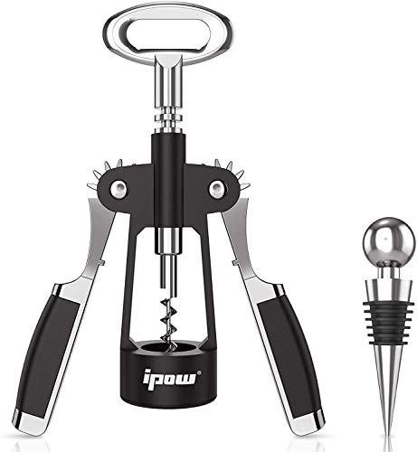 IPOW 2 in 1 Wing Corkscrew Wine Bottle Opener - Manual Wine Cork and Beer Cap Remover Kit for Professionals or Home Use