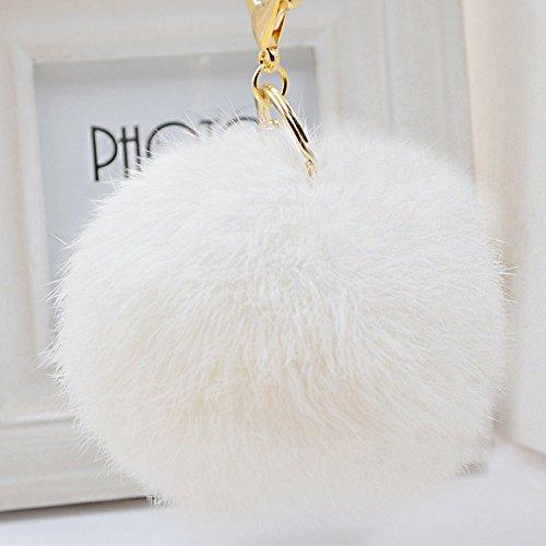 WannaBi Gold Plated Keychain Cute Fur Ball Pom Pom Keychain for Car Key Ring Handbag Tote Bag Pendant Charm