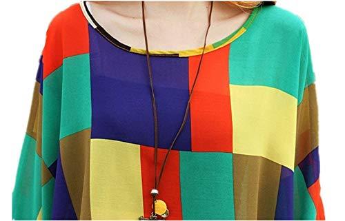 Donna Chic Relaxed Stampato Ragazza 21 Top Shirts Casual Chiffon Pipistrello Colour Blouse Leggero Elegante Manica Tunica Mare Bluse Estivi Accogliente rHXxr8wBvq