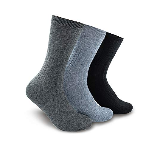 Time May Tell 3 Pairs Men Women Merino Wool Socks Thermal Lightweight Trail Dress Socks(Black,Gray,Darkgray(3 pairs),US Size 9~12)