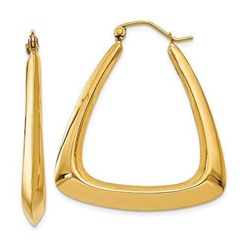 14K Yellow Gold Fancy Knife Edge Triangle Shrimp Hoop Earrings 14k Yellow Gold Triangle Hoop