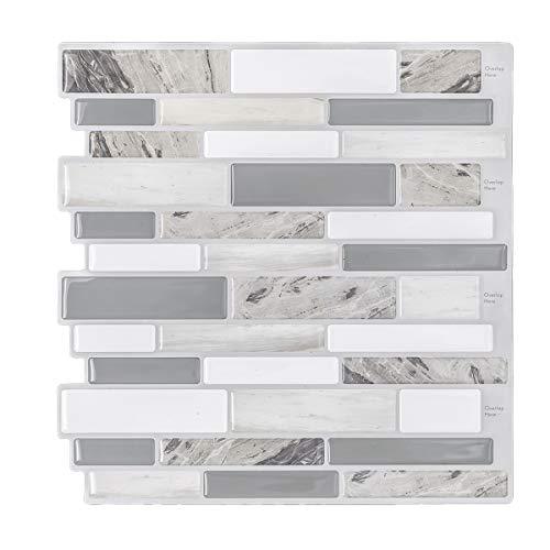 HUE DECORATION Modern Grey Peel and Stick Tile Backsplash for Kitchen Decorative Vinyl Backsplash Tile Peel and Stick Subway Tiles Smart Sticker Tile for RV Kitchen 10quot H x 10quot L Pack of 5