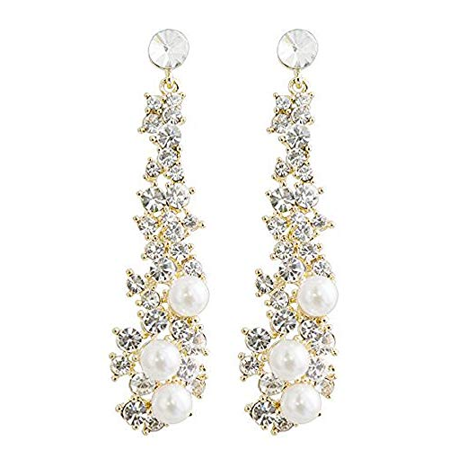 CIShop Waterfall Earrings-UltraSparkling Long Pearl earrings with Simulated Diamonds-Super Beautiful