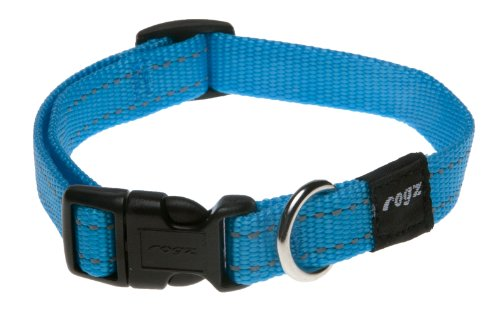 Rogz Utility Medium 5/8' Snake Side-Release Reflective Stitching Dog Collar, Turquoise