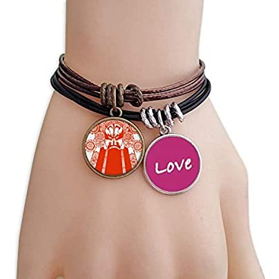 Metftus Red Opera Facial Mask Paper-cut Love Bracelet Leather Rope Wristband Couple Set Estimated Price -