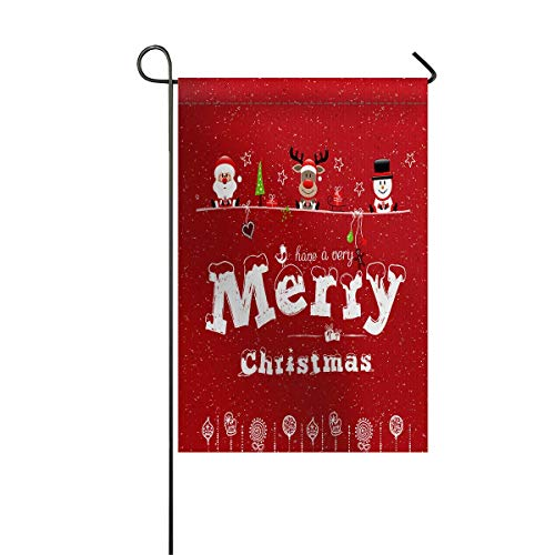- zhurunshangmaoGYS Garden Flag House Banner Decorative Flag Home Outdoor Valentine, Xmas Santa Claus Reindeer and Snowman Celebrate Christmas with Ornaments Welcome Holiday Yard Flag 12 x 18inch