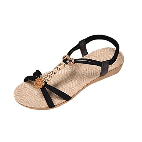 Elevin (tm) Donne Estate Moda Perline / Fasciatura / Paillettes Piattaforma Boemia Piatto Sandali Infradito Sandalo Nero 5
