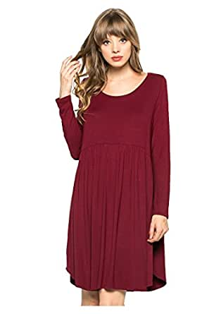My Space Clothing Women's Babydoll Knit Jersey Swing Dress(Plus Size Available) (1X Plus, Burgundy)