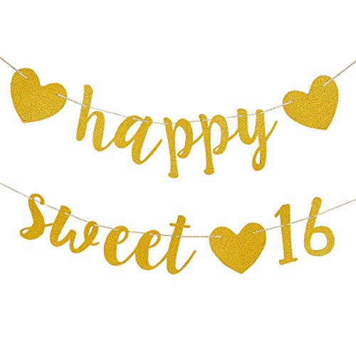 Sweet 16 Banners (Gold Glittery Happy Sweet 16 Birthday Banner- Sixteen Decoration 16th Birthday Party Decoration)
