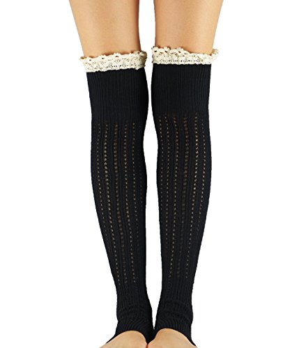 Durio Lace Boot Crochet Knitted Cable Wide Calf Boot Leg Cuffs Socks for Womens Winter Soft Knee High Leg Warmers One Size - Down Roll Bootleg