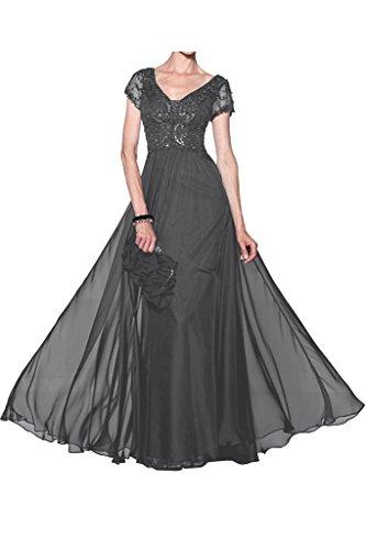 Linie Abendkleider Formalkleider Dunkel Brautmutterkleider Grau Kurzarm Grau Festlichkleider Damen A Charmant Formalkleider qwSg8X