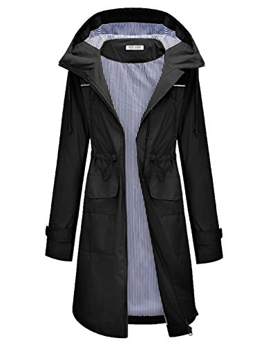 Women's Raincoats Windbreaker Rain Jacket Waterproof Outdoor Hooded Trench Coats