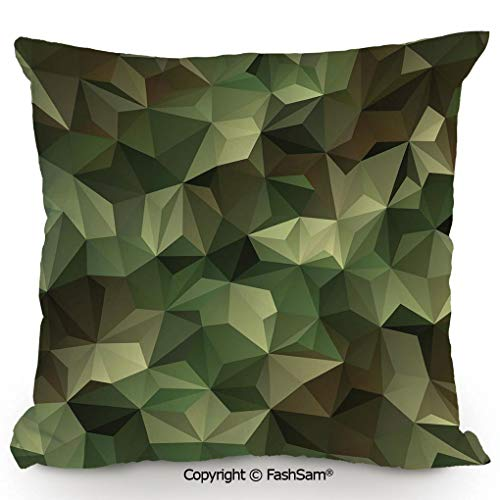 Polyester Throw Pillow Cushion Geometric Fractal Shapes Triangles Army Military Camo Inspired Form with Poly Effect Decorative for Sofa Bedroom Car Decorate(24