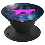 COOL PINK CAT SILHOUETTE ON OUTER SPACE BLUE BACKDROP - PopSockets Grip and Stand for Phones and Tablets