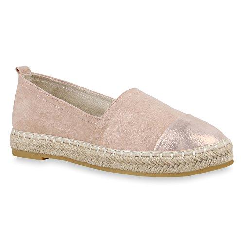 Stiefelparadies Damen Schuhe Espadrilles Bast Plateau Slippers Plateauschuhe Slip Ons Flandell Rose Gold Agueda