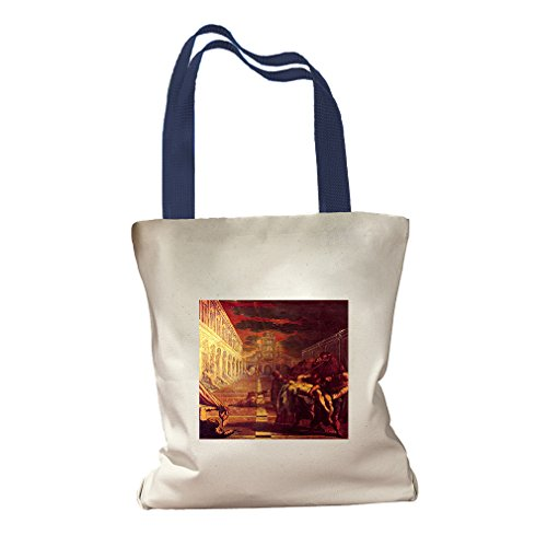 Salvage Corpse St. Mark (Tintoretto) Canvas Colored Handles Tote - Royal Blue