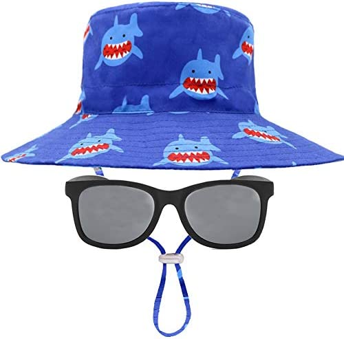 Boys and Girls Summer Baby Sun Hat /& Sunglasses Set Protection Adjustable Wide Brim Bucket Cap for Kids UPF 50