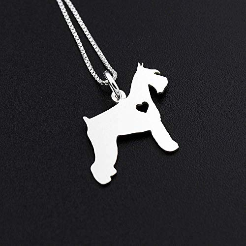 - Schnauzer necklace Personalized Engraveable sterling silver Schnauzer breed pendant With Heart - Dog Breed Jewelry Best Memorial Pet Gift