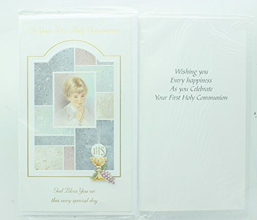 Boys First Holy Communion Greeting Card. Includes envelope. First Communion Card
