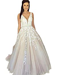 cb45a2c92cd3 Women s Wedding Dress for Bride Lace Applique Evening Dress V Neck Straps  Ball Gowns