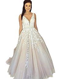 f7163b816c32 Women s Wedding Dress for Bride Lace Applique Evening Dress V Neck Straps Ball  Gowns