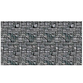Beistle Stone Wall Backdrop Party Accessory | 4-Feet by 30-Feet | (1-Count) (Plastic Wall Decorations)