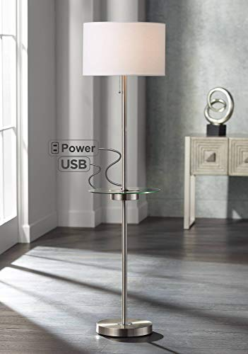 Caper Modern Floor Lamp with USB and AC Power Outlet on Table Glass Satin Steel White Fabric Drum Shade for Living Room - 360 Lighting (Table Lamp Floor Tray)